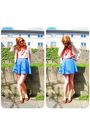 coral pussybow asos blouse - blue denim asos skirt - cream Per Una cardigan - ta