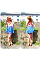 coral pussybow asos blouse - blue denim asos skirt - cream Per Una cardigan - ta
