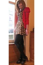 Leopard-print-motel-dress-red-puff-sleeves-primark-cardigan