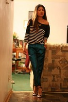 turquoise blue metallic Topshop pants - navy striped JCrew shirt