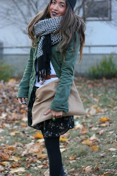 birds H&M dress - utility Urban Outfitters jacket - tan American Apparel purse