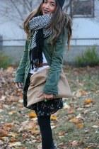 birds H&M dress - utility Urban Outfitters jacket - tan American Apparel purse