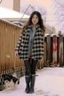 Wellies-hunter-boots-buffalo-plaid-zara-sweater