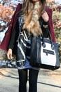 Burgundy-forever-21-coat-striped-bcbg-skirt-colorblocked-zara-pumps