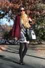 Burgundy-forever-21-coat-colorblocked-zara-pumps-striped-bcbg-skirt