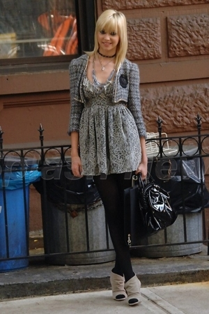 gray jacket - beige shoes - gray dress - black bag - black tights