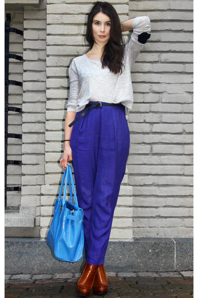 blue H&M Trend pants - tawny Alexander Wang boots - silver GINA TRICOT sweater