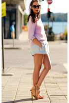 periwinkle acne sweater - light blue Carven shorts - nude acne heels