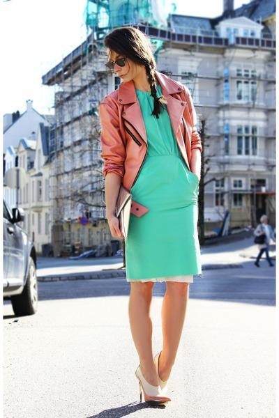 acne dress - deal leather jacket - balenciaga heels - H&M necklace