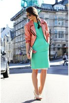 acne dress - deal leather jacket - balenciaga heels - H&M necklace