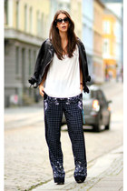 navy H&M Trend pants - black muuba jacket - ivory Alexander Wang top