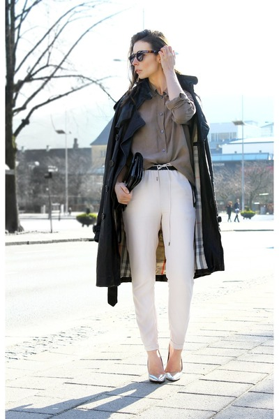 silver Zara heels - black Burberry leather coat - light brown fillipa k shirt