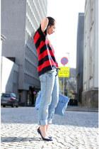 sky blue liz lange bag - navy Aldo Rise heels - ruby red MArnif for H&M swimwear