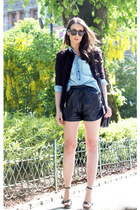 crimson Nanette Lepore blazer - light blue pocoloco shirt - black Burberry heels