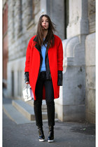 red H&M coat - periwinkle acne sweater