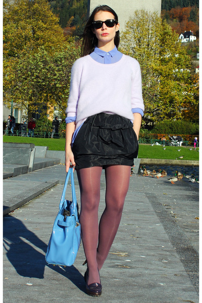 navy acne sweater - violet acne shirt - navy bruunz bazaar skirt