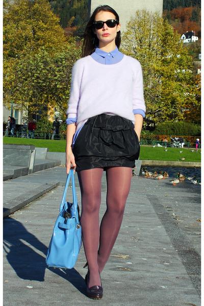 navy acne sweater - violet acne shirt - navy bruunz bazaar skirt