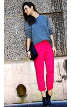 hot pink H&M Conscious Collection pants - black unknown brand boots