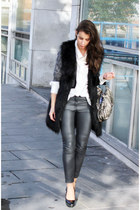 black bronx shoes - black H&M jacket - ivory BikBok shirt - gray H&M pants