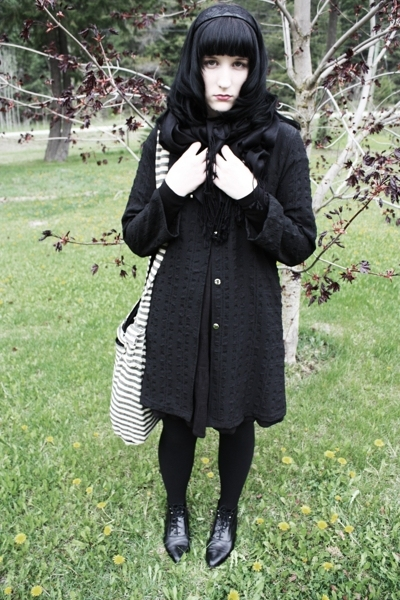 thrifted coat - H&M dress - random scarf - thrifted shoes - purse - accessories