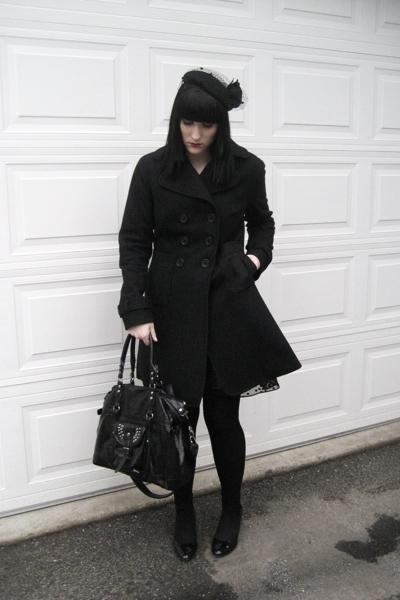 le chateau hat - jacon connection coat - Guess dress - H&M tights - random purse