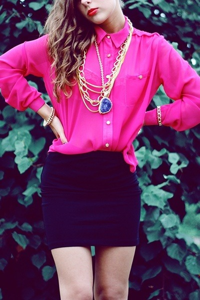 hot pink sheer Forever 21 blouse - black pencil cut Topshop skirt