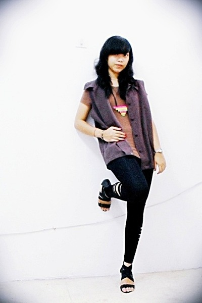 brown t-shirt - brown thrift vest - black DIY leggings - pink DIY necklace - bla