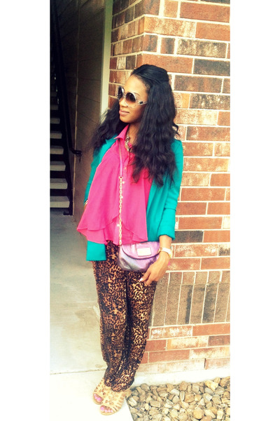 brown pants - turquoise blue H&M blazer - hot pink chiffon top - tan wedges