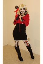 black boots - black Target dress - white tights - ruby red hoodie