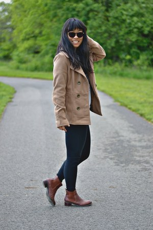 black Old Navy leggings - dark brown Tommy Hilfiger boots - camel Bongo coat