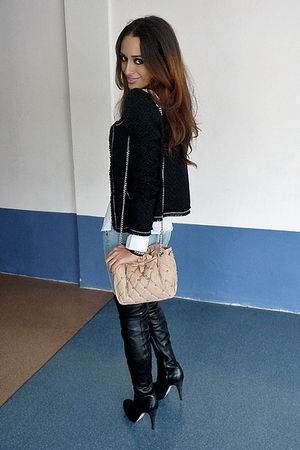 white shirt - black blazer - blue jeans - purse - black boots - silver accessori