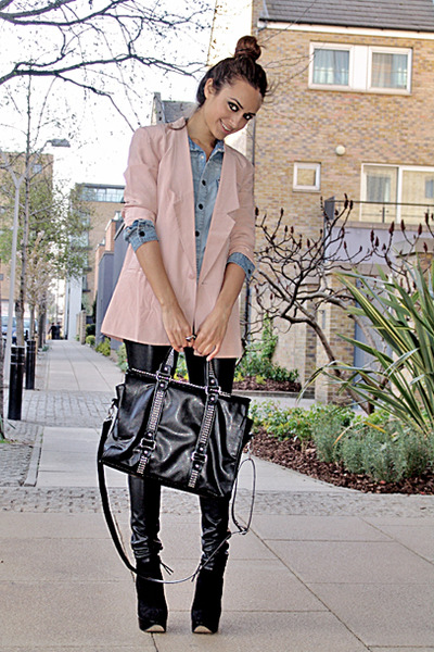 ankle boots - silk blazer - denim shirt - studded bag bag - faux leather pants