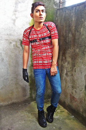 ITEMS shirt - Cheap Monday pants - Hugo Boss gloves - Dr Martens boots - HARNESS