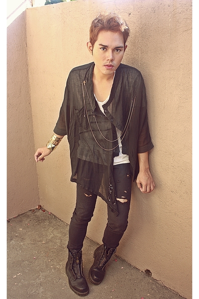 black DREX FABLE coat - white Alexander Wang shirt - black Terranova pants - bla