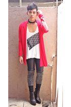 red Dorothy Perkins cardigan - white DIY t-shirt - black shorts - gray leggings