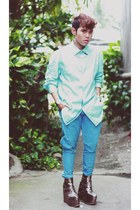 silver Gold Dot boots - sky blue Kenzo shirt - sky blue Miu Miu pants