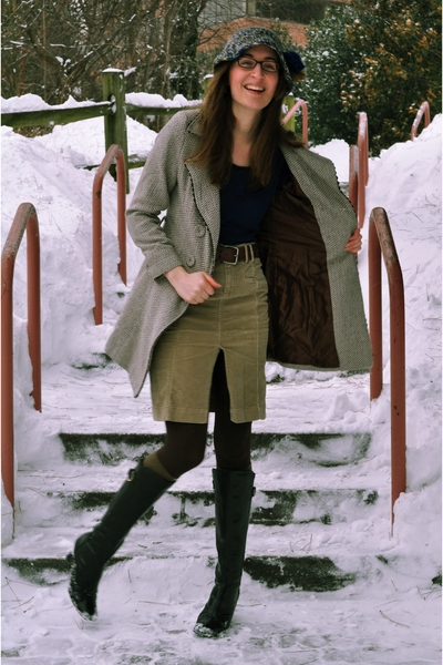 brown modcloth coat - blue Tulle sweater - brown ae skirt - blue vintage hat - b