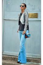 silver sequins Urban Outfitters jacket - charcoal gray Jeffrey Campbell shoes