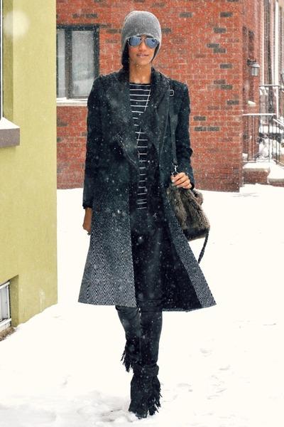 black ombre wool rag & bone coat - gray fringe leather Isabel Marant boots