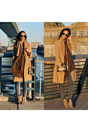 camel wool coat JCrew coat - camel H by Hudson boots
