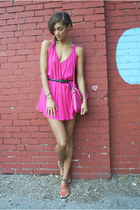 hot pink Riller & Fount dress - hot pink Forever 21 bag - black H&M belt