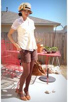 beige hats in the belfry hat - brown JC Pennys shorts - brown isaac mizrahi shoe
