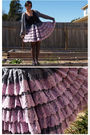 Black-inc-top-purple-vintage-skirt-gray-american-apparel-cardigan-black-me