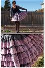 Black-inc-top-purple-vintage-skirt-gray-american-apparel-cardigan-black-me