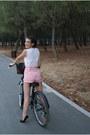 Hot-pink-zara-shorts-white-massimo-dutti-blouse-black-chicwish-flats