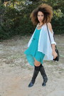 Black-boots-turquoise-blue-dress-white-shirt