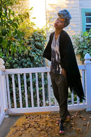 black cape - ivory shirt - army green pants