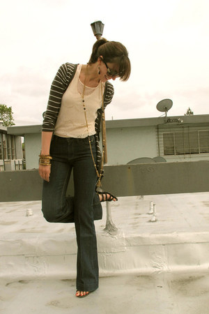 blue Guido & Mary jeans - dark gray William B cardigan - neutral American Appare