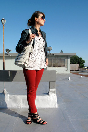 red Domino jeans - navy Forever 21 jacket - white Matt and Nat purse - white ary