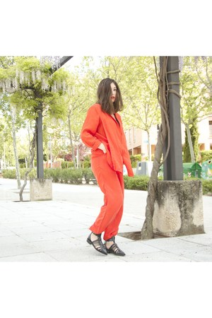 red H&M suit - black Zara sandals